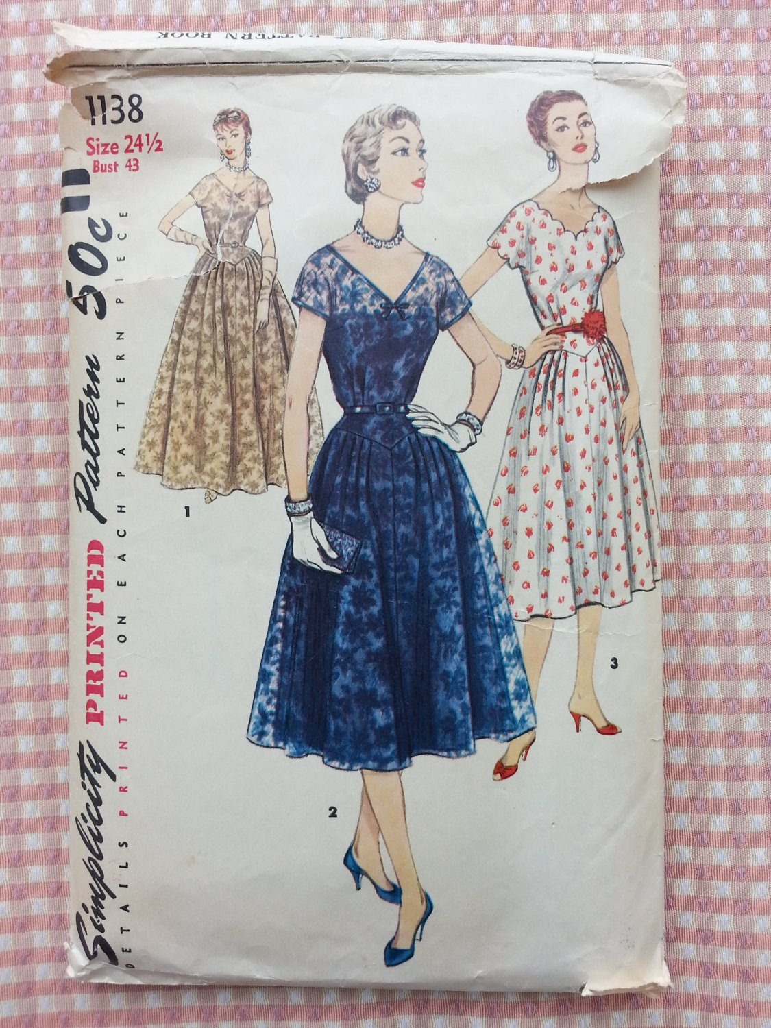 Misses 50s Plus Size Evening Dress Vintage Sewing Pattern Simplicity 1138