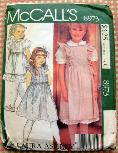 Girls' Laura Ashley Jumper, Blouse, Petticoat or Skirt Vintage 80s McCalls 8973