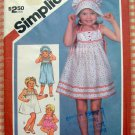 Simplicity 5954 Toddler Rompers, Pullover Dress and Hat Vintage 80s Sewing Pattern