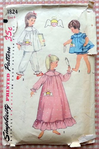 Girls Pajamas, Nightgown, Baby Dolls with Angel Transfer Simplicity Vintage Sewing Pattern 1824