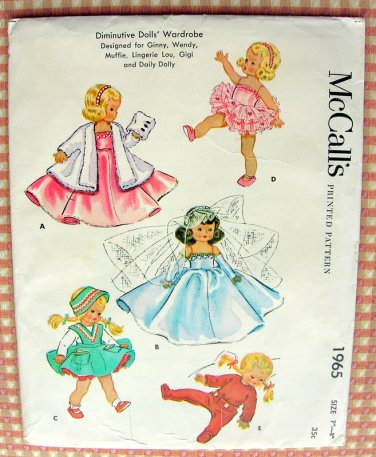 """McCall's Vintage 50s Sewing Pattern 1965 7"""" - 8"""" Diminutive Doll's Wardrobe"""