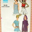 Misses Crop Top, Hoodie, Tank and Shirt Vintage 70s Sewing Pattern Vogue 8047