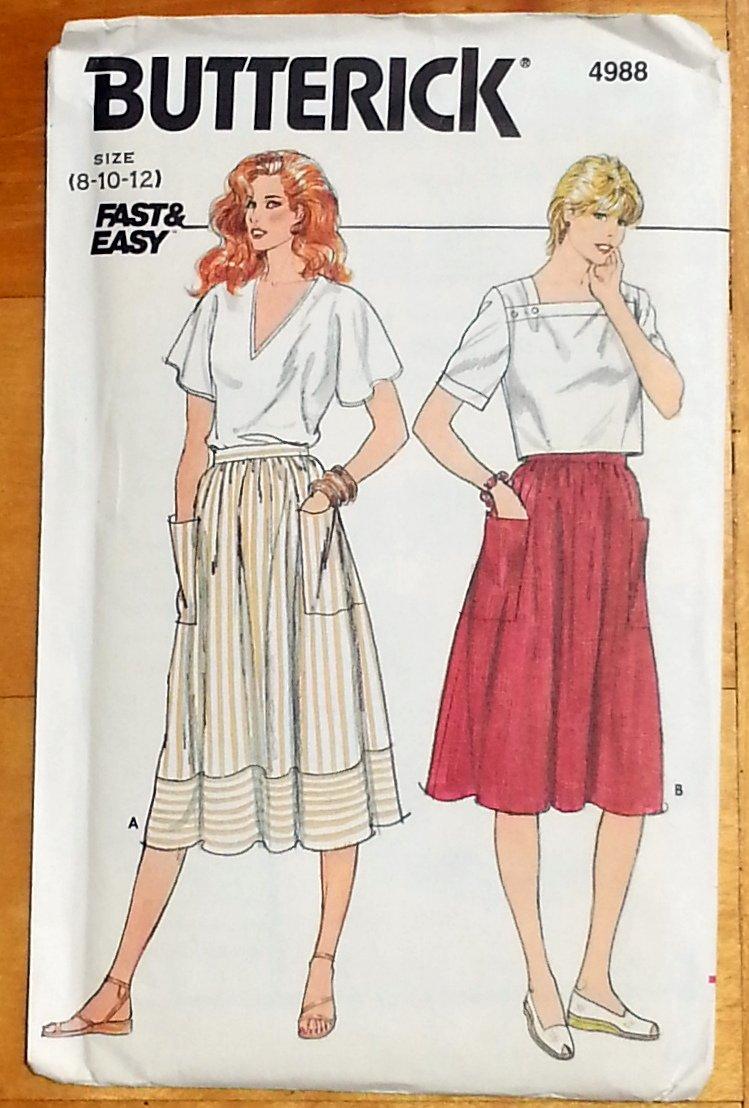 Misses Gathered Skirt Vintage 80s Pattern Butterick 4988