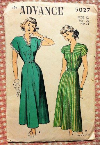Misses Vintage 40s Dress Advance Sewing Pattern 5027