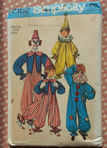 Adult-Size Clown Costume Simplicity 7162 Old Sewing Pattern