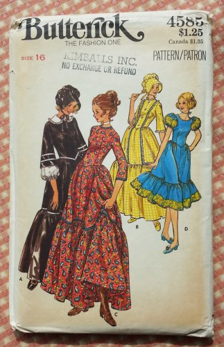 Misses Square Dance Dress or Pioneer Costume Vintage Sewing Pattern Butterick 4585