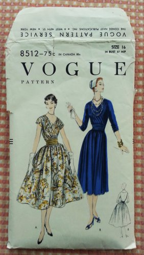Misses Dress and Cummerbund Vintage 50s Sewing Pattern Vogue 8512