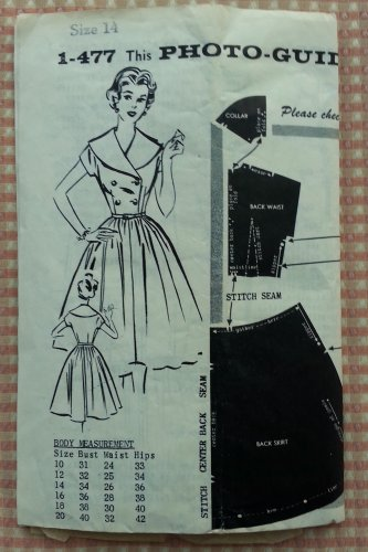 Misses Fifties Rockabilly Dress Vintage Parade Mail Order Sewing Pattern 1-477