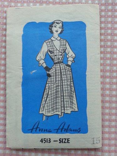 Junior Miss Blouse and Jumper Anne Adams Vintage Mail Order Sewing Pattern 4513