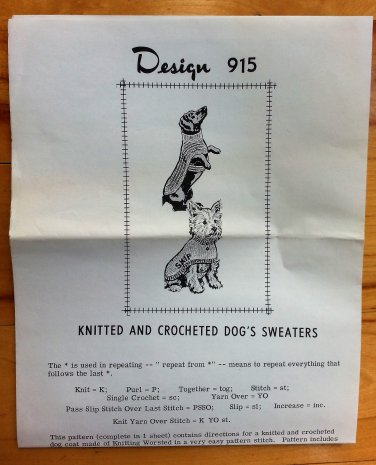 Dog Sweaters Crochet and Knitting Vintage Mail Order Craft Pattern 915