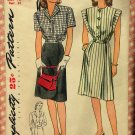 Misses' Dress Vintage 40s Simplicity Pattern 1305