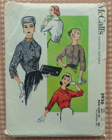 Misses' 50s Jacket Set Vintage Sewing Pattern McCall's 3936