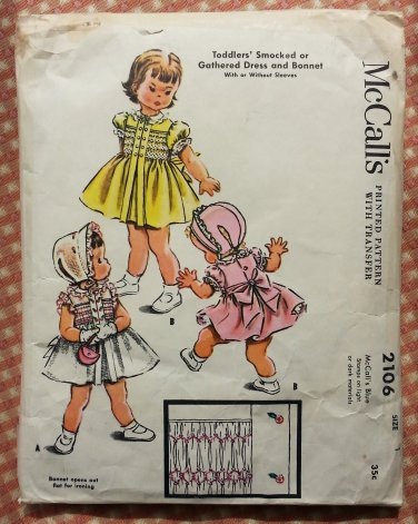 Toddler Girl's Smocked Dress and Bonnet Sz 1 McCall's 2106 Vintage Sewing Pattern