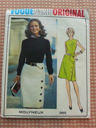 Vintage 70s Molyneux Misses Dress Vogue sewing pattern 2692