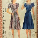 Misses 1940s Dress Vintage Sewing Pattern Simplicity 3423