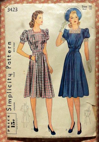Misses 1940s Dress Vintage Sewing Pattern Simplicity 3423