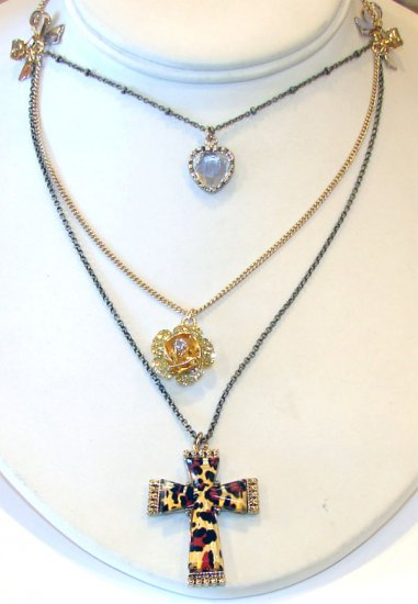 Betsey Johnson Jewelry Lovely Leopard Layer Cross Necklace Gold