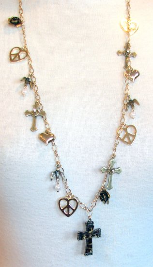 Betsey Johnson Jewelry Lovely Leopard Long Cross Charm Necklace