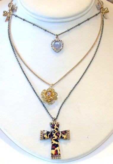 Betsey Johnson Jewelry Lovely Leopard Layer Cross Neckl