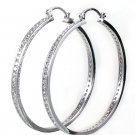 Simply Sterling Silver Crystal Hoop Earrings Large