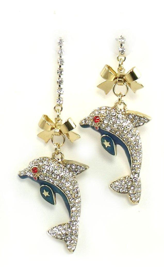 Betsey Johnson Jewelry Mermaids Tale Dolphin Dangle Earrings