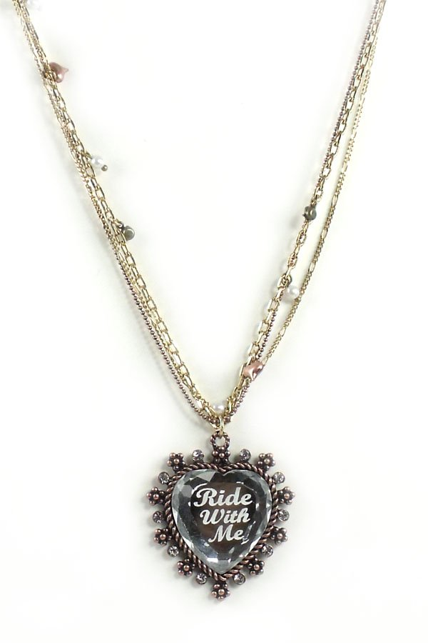 Betsey Johnson Jewelry Lady Luck Ride With Me Heart Necklace