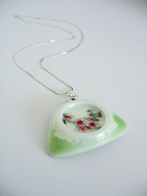 Exquisite porcelain decal and color glaze pendant & sterling silver by C.C.