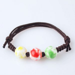 HANDMADE Porcelain beads bracelet colorful round