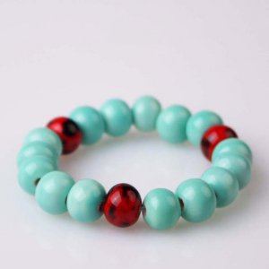 HANDMADE Porcelain beads bracelet blue and red