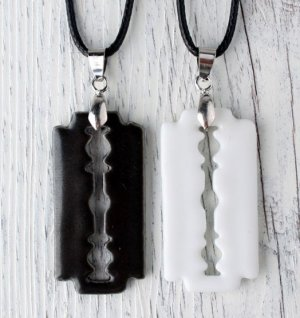HANDMADE Porcelain pendant black and white (gifts for lovers)