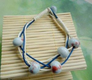 HANDMADE Porcelain beads bracelet red