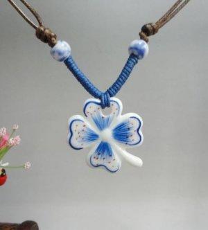 HANDMADE Porcelain lucky leaves pendant handpainted blue and white