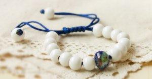 HANDMADE Porcelain beads bracelet white