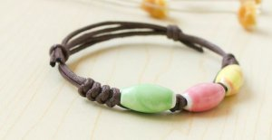 HANDMADE Porcelain beads bracelet colorful