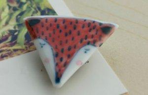 HANDMADE Porcelain fox brooch handpainted
