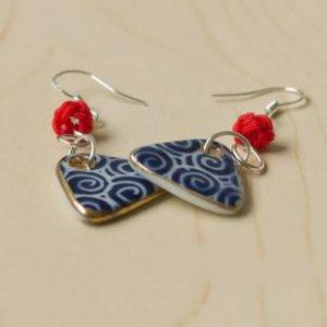 HANDMADE Porcelain earrings triangle handpainted blue and white