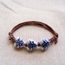 HANDMADE Porcelain heart beads bracelet handpainted blue and white