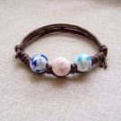 HANDMADE Porcelain heart beads bracelet handpainted colorful