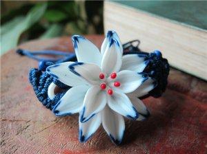 HANDMADE Porcelain flower bracelet handformed