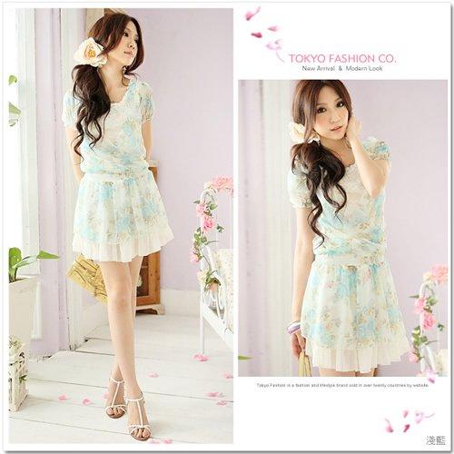 Flowers Floral Chiffon Dress/Shirt Blue XS~S