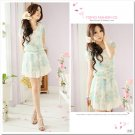 Flowers Floral Chiffon Dress/Shirt Blue XS~S