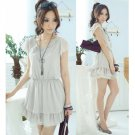Chiffon & Lace Medium Dress Grey XS~S