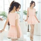 Chiffon & Lace Medium Dress Pink XS~S