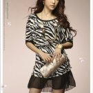 Round-neck  Zebra Stripes Chiffon+Cotton Dress M~L