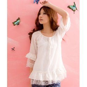 CUTE WHITE LACE CHIFFON BLOUSE/TOP M