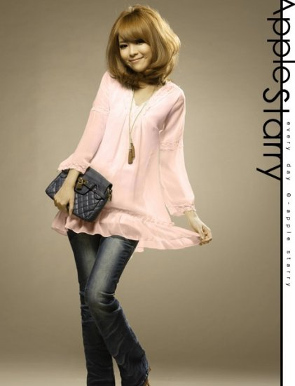 WOMENS CUTE PINK CHIFFON LONG TOP/BLOUSE S~M