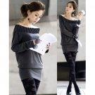 Cotton Drape Neckline Top/Dress Dark Grey S~M