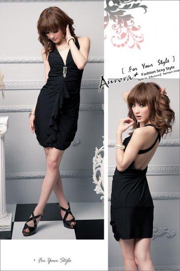 Cross Back Low-Cut Brooch Flounce Dress Black S~M
