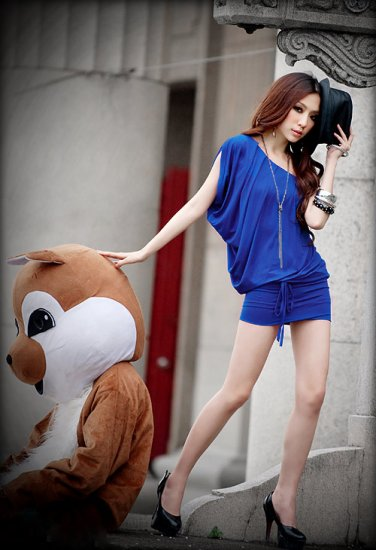 One Shoulder Tight Waist Belt Dress/Shirt Blue S~M