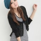 Button Embellished Woolen Beret Blue